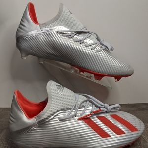 Adidas X 19.2 Firm Ground Soccer Cleats Silver/Red